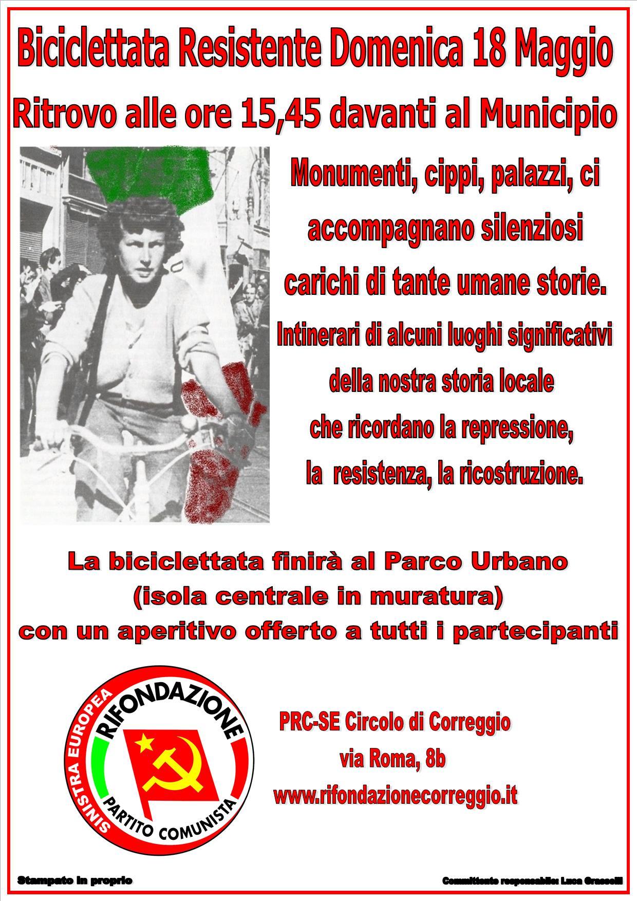 Biciclettata Resistente, domenica 18 maggio 2014 a Correggio